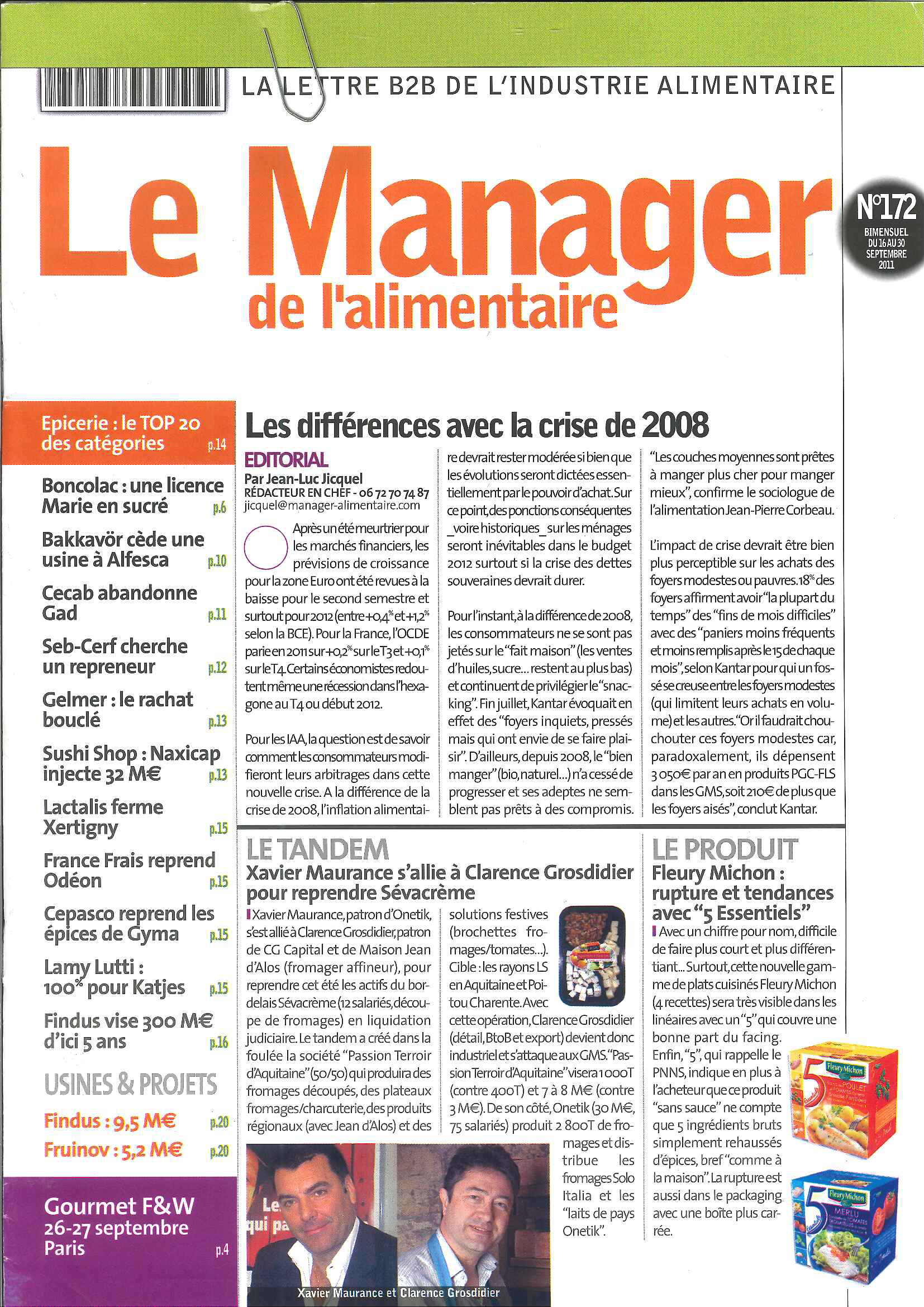 Manager de l'Alimentaire 172 – 09/11